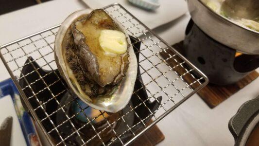 伊豆 稲取東海ホテル湯苑の部屋食ご飯♪料理極盛り!夕食メニュー_アワビの網焼き2