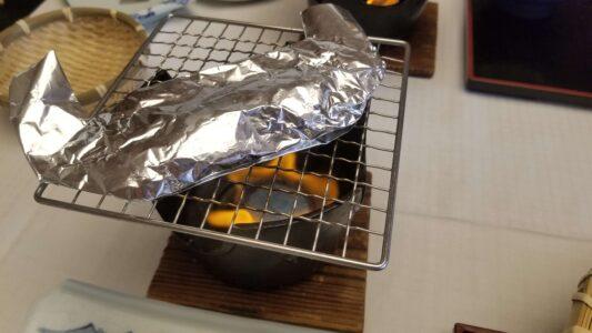 伊豆 稲取東海ホテル湯苑の部屋食ご飯♪料理極盛り!朝食_お魚ホイル焼き1