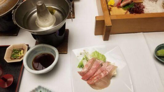 伊豆 稲取東海ホテル湯苑の部屋食ご飯♪料理極盛り!夕食メニュー_金目鯛のしゃぶしゃぶ1